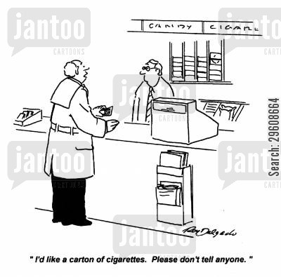 embarrass cartoon humor: 'I'd like a carton of cigarettes. Please don't tell anyone.'