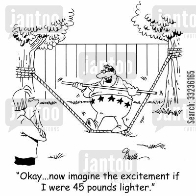 high wire cartoon humor: 'Okay...now imagine the excitement if I were 45 pounds lighter.'