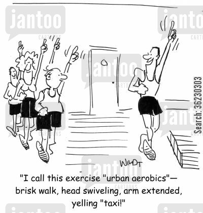 fitness classes cartoon humor: 'I call this exercise 'Urban Aerobics'