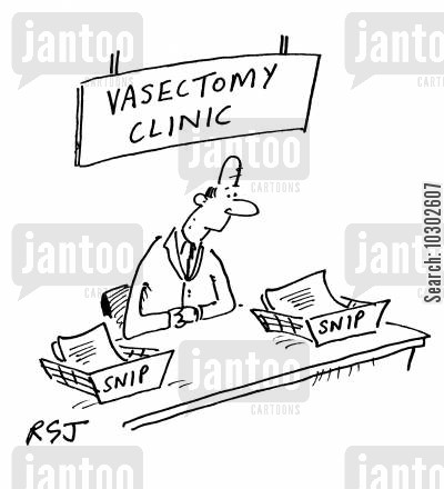 birth control cartoon humor: 'Vasectomy Clinic.'
