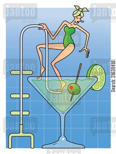 spas cartoon humor: Woman at spa having bath in a Martini cocktail glass.