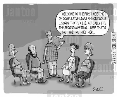 imposter cartoon humor: COMPULSIVE LIARS.