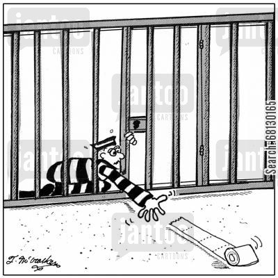 penitentiary cartoon humor: Struggling to reach the toilet paper...