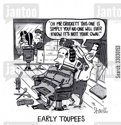 hair care cartoon humor: Early Toupees