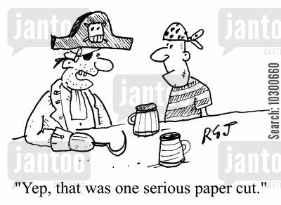paper cuts cartoon humor: Yep, that was one serious paper cut