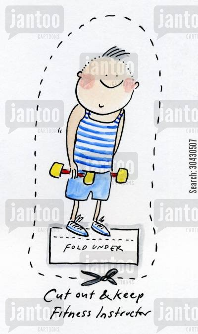 exercises cartoon humor: Cut out and keep your own Fitness Instructor.