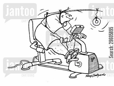 exercise bike cartoon humor: Exercise for fat people.