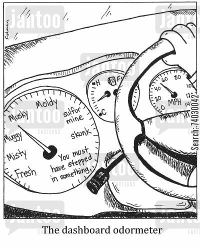 road trips cartoon humor: The dashboard odormeter
