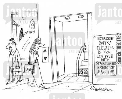 defeating cartoon humor: Elevator is Now Equipped With Stairclimber Exercise Machine