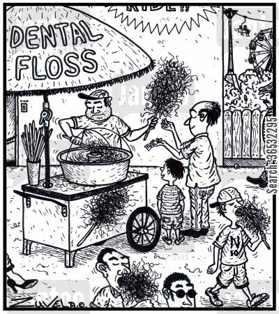 fairground cartoon humor: Dental Floss.