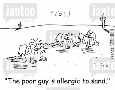 dunes cartoon humor: 'The poor guy's allergic to sand.'