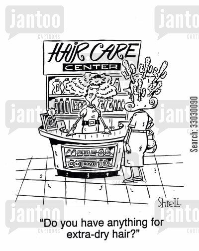 hair care cartoon humor: Do You Have Anything For Dry Hair?