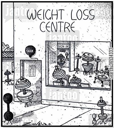 support cartoon humor: Overweight dumb-bells at a Weight Loss Centre having their weights removed