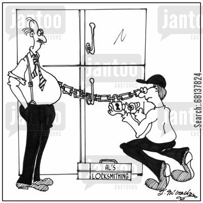 padlocks cartoon humor: A fat man watches as a locksmith picks at large padlock chained around the refrigerator.
