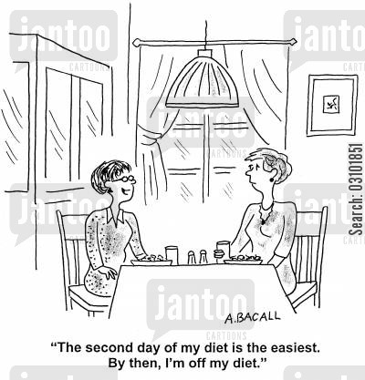 diets cartoon humor: 'The second diet of my diet is always the easiest. By then, I'm off my diet.'