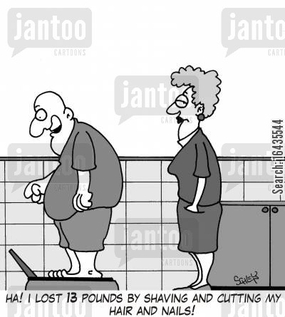 cutting nails cartoon humor: 'Ha! I lost 13 pounds by shaving and cutting my hair and nails!'