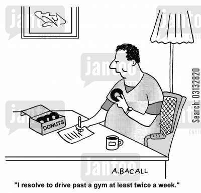 diabetes cartoon humor: I resolve to drive past a gym at least twice a week