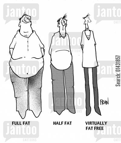 diet foods cartoon humor: Full fatHalf fatVirtually fat free.