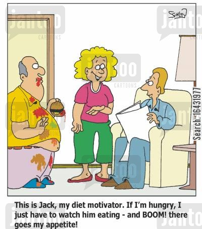 motivators cartoon humor: 'This is Jack, my diet motivator. If I'm hungry, I just have to watch him eating - and BOOM! there goes my appetite!'