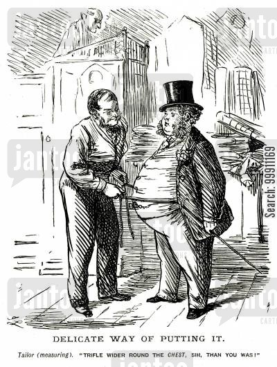 delicate cartoon humor: Tailor measuring a very fat man