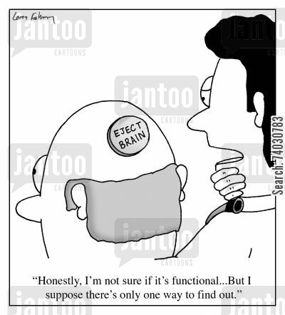 function cartoon humor: 'Honestly, I'm not sure if it's functional...But I suppose there's only one way to find out.'