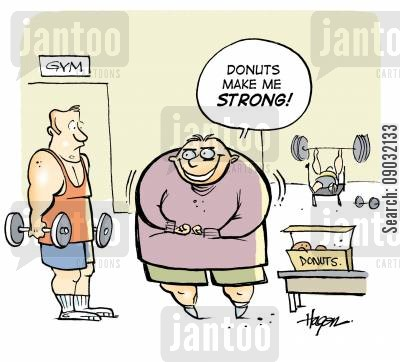 join a gym cartoon humor: 'Donuts make me STRONG!'