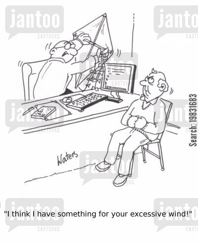 indigestion cartoon humor: 'I think I have something for your excessive wind'