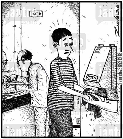 hand dryer cartoon humor: Hand washer.