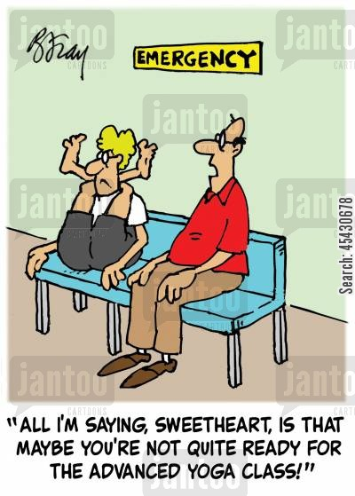 exercise classes cartoon humor: 'All I'm saying, Sweetheart, is that maybe you're not quite ready for the advanced yoga class!'