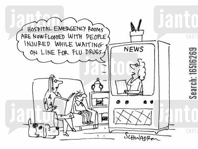 que cartoon humor: Flu Drugs.