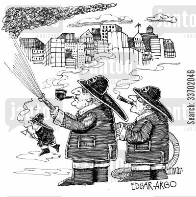 fire engine cartoon humor: Smoking Firemen.