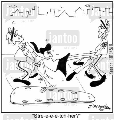 accident victims cartoon humor: 'Stre-e-e-e-tch-her?'