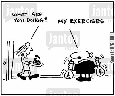 cash bags cartoon humor: 'What are you doing?.' 'My exercises.'