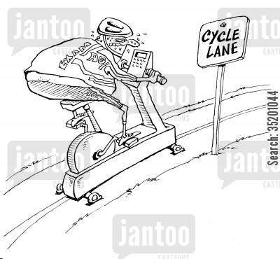 exercise bike cartoon humor: Exercise bike in a cycle lane.