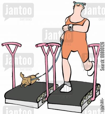jogging cartoon humor: Man and dog on exercise bikes.