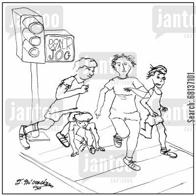 green lights cartoon humor: A traffic light says, 'Don't Walk, Jog.'