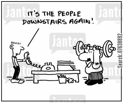 noisy neighbours cartoon humor: 'It's the people downstairs again.'