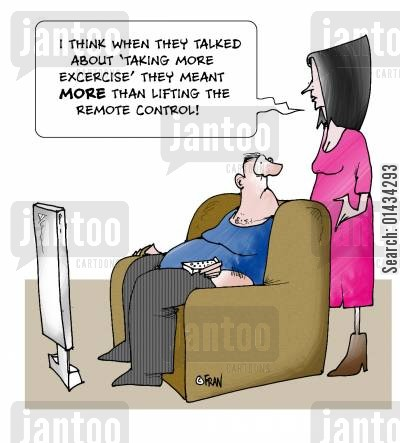 lazy husbands cartoon humor: I think when they talk about 'taking more excercise' they meant more than lifting the remote control.