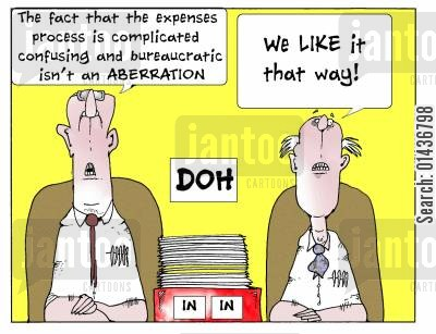complicated cartoon humor: 'The fact that the expenses process is complicated confusing and bureaucratic isn't an Aberration.'