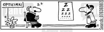 snores cartoon humor: Optician's Eye Chart - ZZZZ.