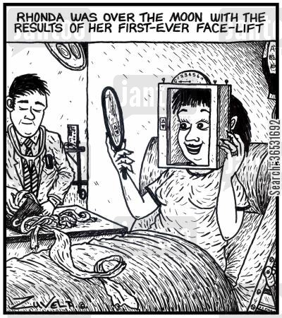 face lifts cartoon humor: Rhonda was over the moon with the results of her first-ever face-lift.