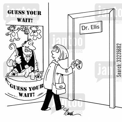 stall cartoon humor: Guess Your Wait.