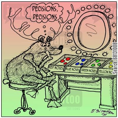 delivering presents cartoon humor: Decisions, decisions, decisions...nose choices,