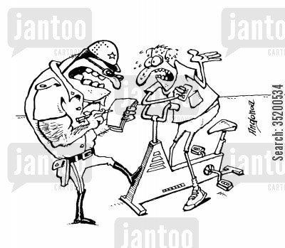 exercise bikes cartoon humor: Policeman fining man for going to fast on his exercise bike