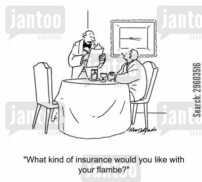 burn cartoon humor: 'What kind of insurance would you like with your flambe?'