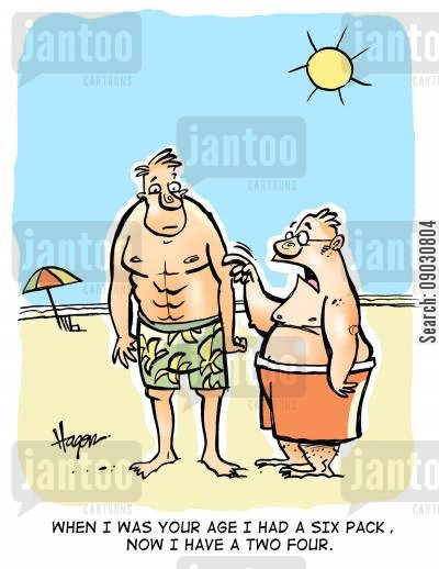 seashore cartoon humor: 'When I was your age I had a six pack, now I have a two four.'