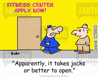 fitness centre cartoon humor: 'Apparently, it takes jacks or better to open.'