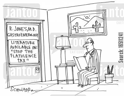 pamphlet cartoon humor: R Jones MD, Gastroenterology. Literature Available On: 'Stop the flatulence tax.'