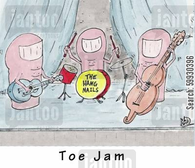 playing music cartoon humor: A Toe Jam with The Hang Nails.