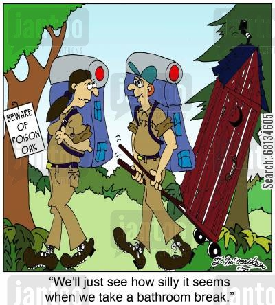 itching cartoon humor: 'We'll just see how silly it seems when we take a bathroom break.'